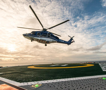 The H175 helicopter on the Golden Eagle platform in the North Sea